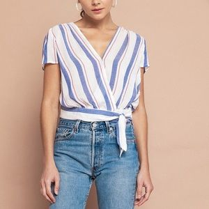 NWT The Good Jane Striped Wrap Top Size S